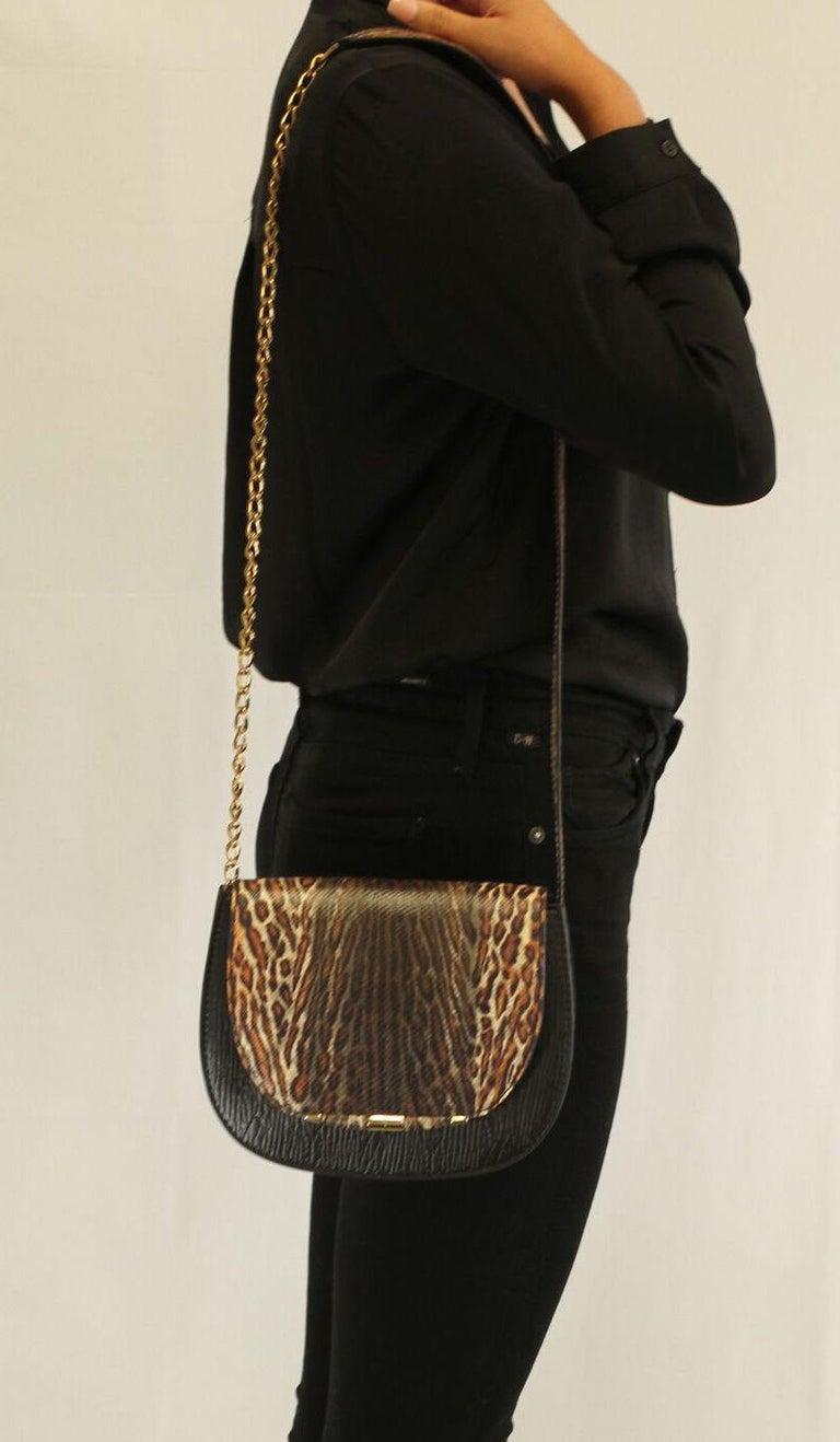 TYLER ELLIS Jane Saddle Small Leopard Karung+Black Plonge Leather Gold Hardware For Sale 2