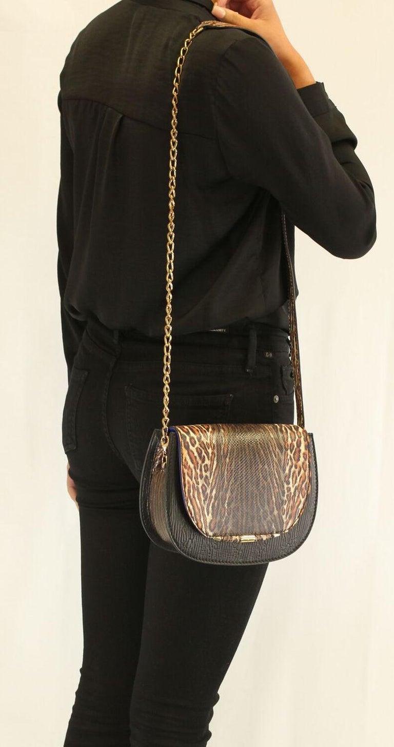 TYLER ELLIS Jane Saddle Small Leopard Karung+Black Plonge Leather Gold Hardware For Sale 3