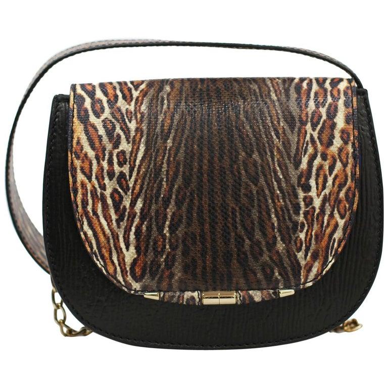 TYLER ELLIS Jane Saddle Small Leopard Karung+Black Plonge Leather Gold Hardware For Sale