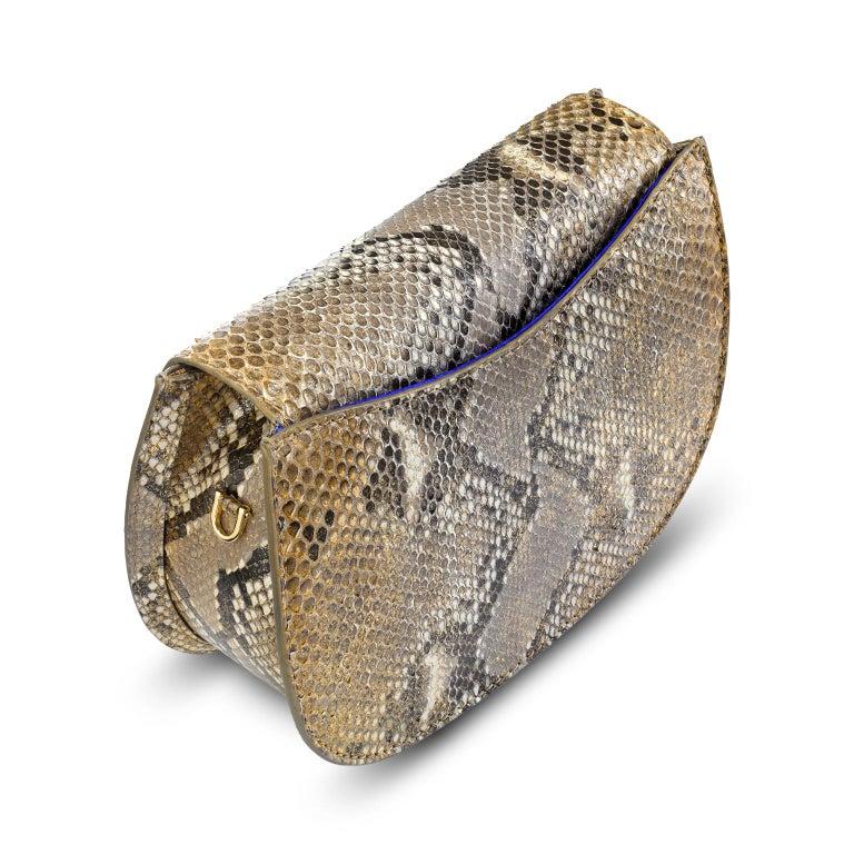 Brown TYLER ELLIS Jane Saddle Small Metallic Gold Natural Python Gold Hardware For Sale