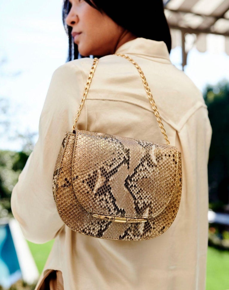 TYLER ELLIS Jane Saddle Small Metallic Gold Natural Python Gold Hardware In New Condition For Sale In Los Angeles, CA