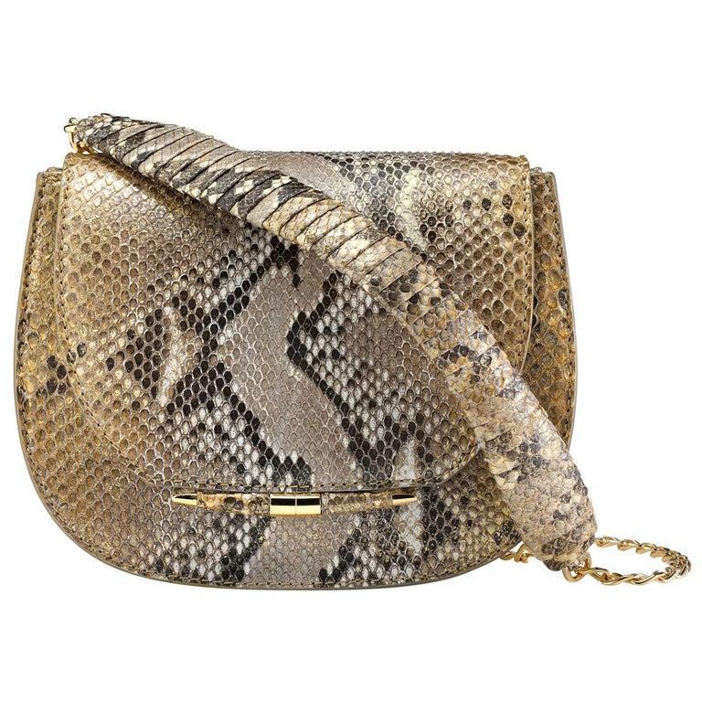 TYLER ELLIS Jane Saddle Small Metallic Gold Natural Python Gold Hardware For Sale