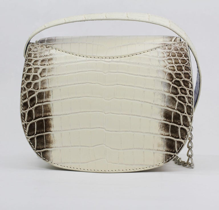 TYLER ELLIS Jane Saddle Small Natural White Himalayan Crocodile Silver Hardware In New Condition For Sale In Los Angeles, CA