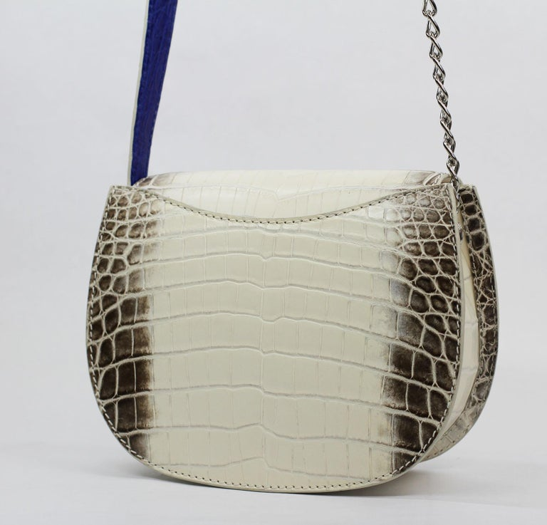 TYLER ELLIS Jane Saddle Small Natural White Himalayan Crocodile Silver Hardware For Sale 1