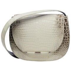 TYLER ELLIS Jane Saddle Small Natural White Himalayan Crocodile Silver Hardware