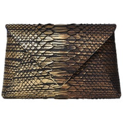 TYLER ELLIS Lee Pouchet Large Bronze Brushed Python Gold Hardware