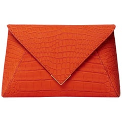 TYLER ELLIS Lee Pouchet Large Orange Gummy Alligator Gold Hardware