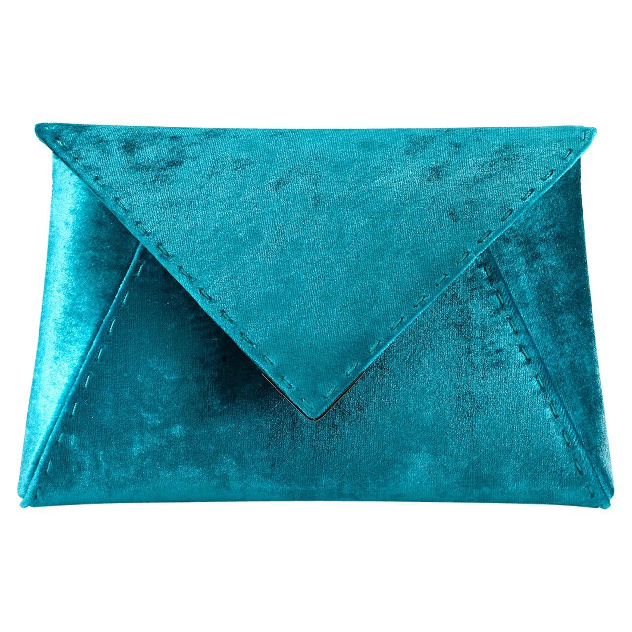 TYLER ELLIS Lee Pouchet Small Blue-Green Crushed Velvet Gunmetal Hardware