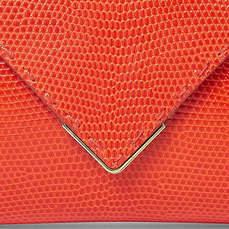 TYLER ELLIS Lee Pouchet Small Bright Orange Lizard Gold Hardware In New Condition For Sale In Los Angeles, CA