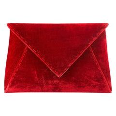 TYLER ELLIS Lee Pouchet Small Cherry Red Crushed Velvet Gold Hardware