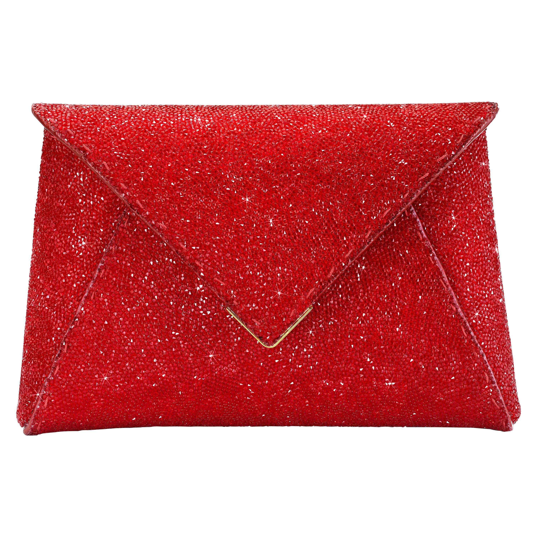 TYLER ELLIS Lee Pouchet Small Clutch Scarlet Red Swarovski Crystal Gold Hardware