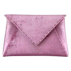 TYLER ELLIS Lee Pouchet Small Dark Pink Crushed Velvet Rose Gold Hardware