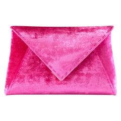 TYLER ELLIS Lee Pouchet Small Hot Pink Crushed Velvet Gold Hardware