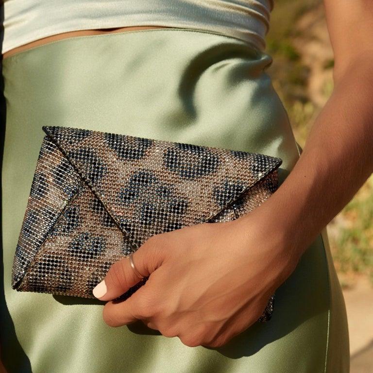 Women's TYLER ELLIS Lee Pouchet Small Leopard Swarovski Crystal Fine Mesh For Sale