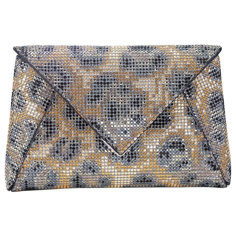TYLER ELLIS Lee Pouchet Small Leopard Swarovski Crystal Fine Mesh