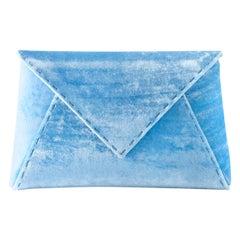 TYLER ELLIS Lee Pouchet Small Light Blue Crushed Velvet Silver Hardware