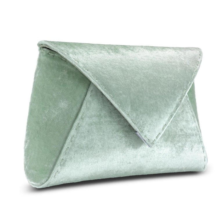Gray TYLER ELLIS Lee Pouchet Small Light Green Crushed Velvet Gunmetal Hardware For Sale