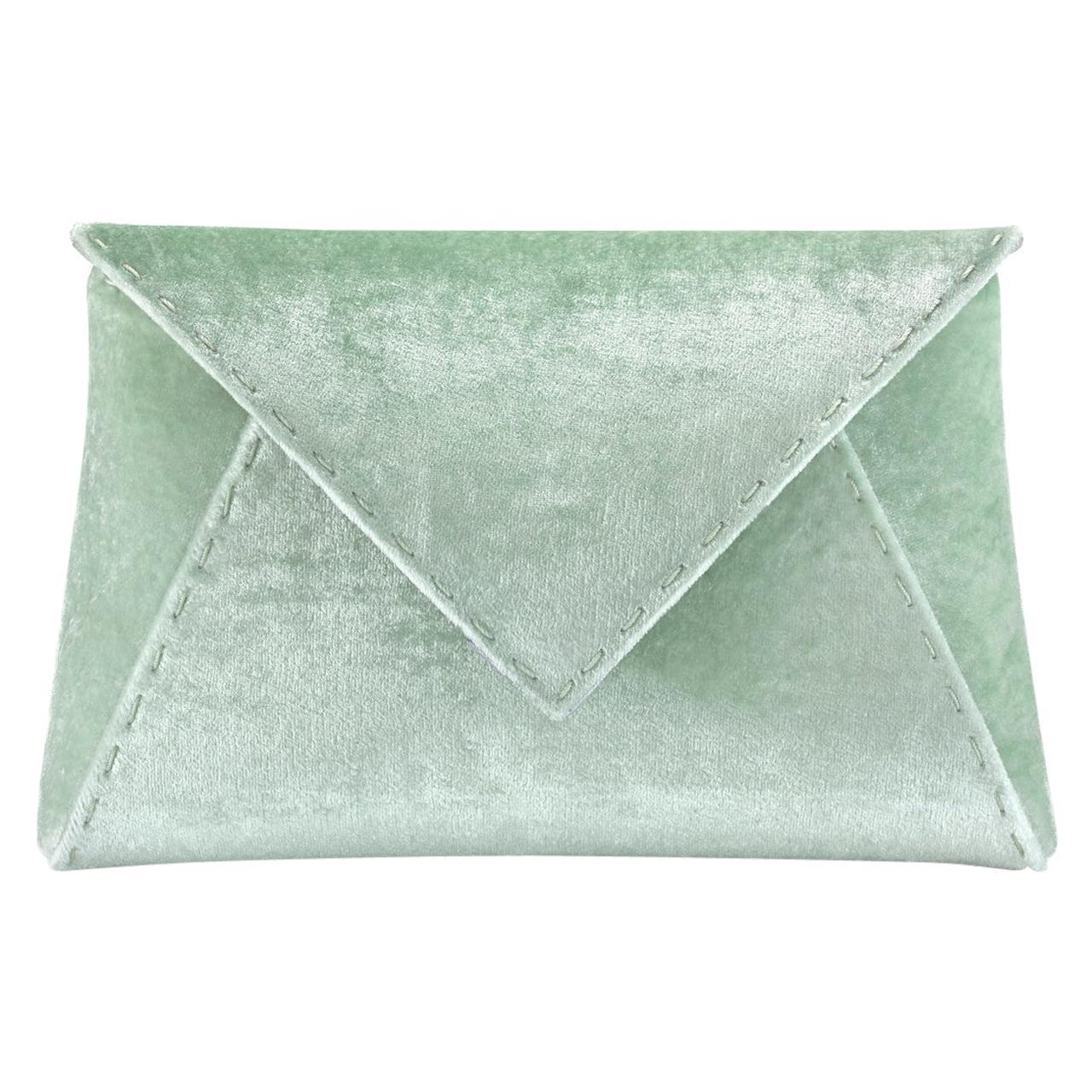 TYLER ELLIS Lee Pouchet Small Light Green Crushed Velvet Gunmetal Hardware