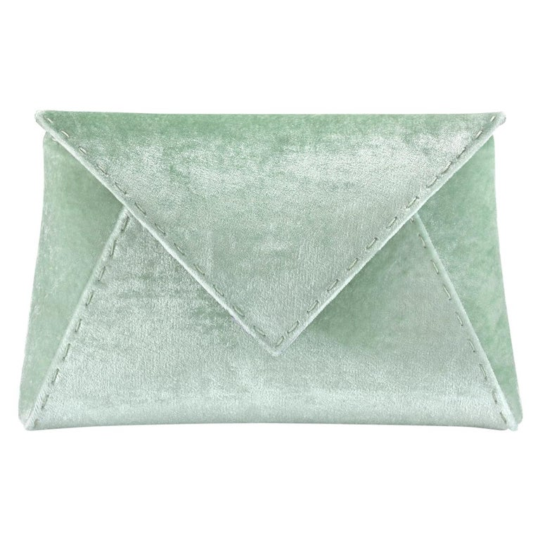 TYLER ELLIS Lee Pouchet Small Light Green Crushed Velvet Gunmetal Hardware For Sale