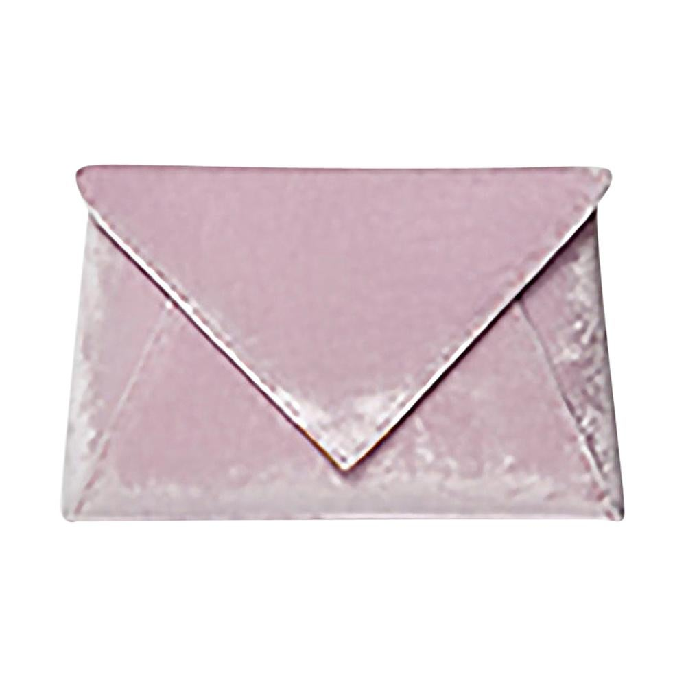 TYLER ELLIS Lee Pouchet Small Light Pink Crushed Velvet Gold Hardware