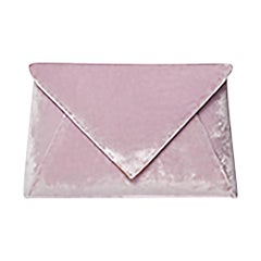 TYLER ELLIS Lee Pouchet Small Light Pink Crushed Velvet Gold Hardware