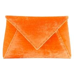 TYLER ELLIS Lee Pouchet Small Orange Crushed Velvet Gold Hardware