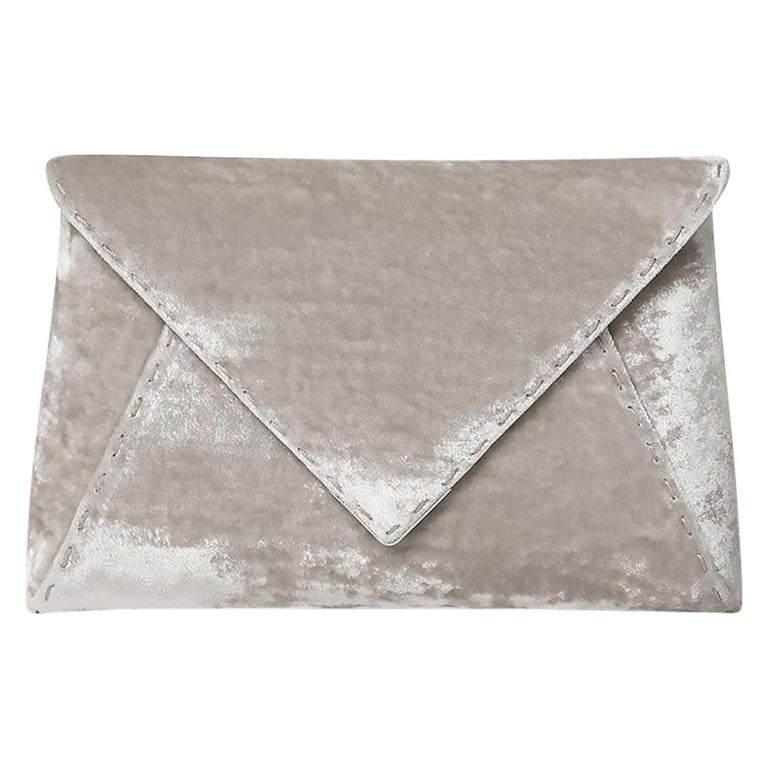 TYLER ELLIS Lee Pouchet Small Silver Crushed Velvet Silver Hardware For Sale
