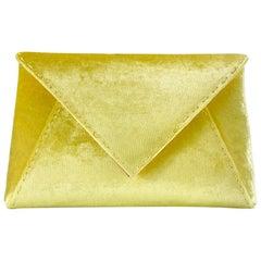 TYLER ELLIS Lee Pouchet Small Yellow Crushed Velvet Gold Hardware