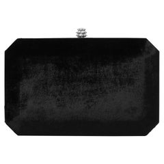 TYLER ELLIS Lily Clutch Black Crushed Velvet Silver Hardware