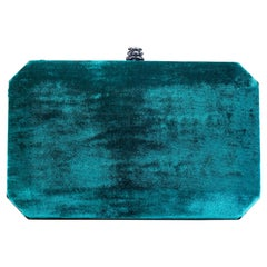 TYLER ELLIS Lily Clutch Blue-Green Crushed Velvet Gunmetal Hardware