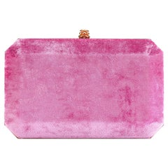 TYLER ELLIS Lily Clutch Dark Pink Crushed Velvet Rose Gold Hardware