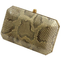 TYLER ELLIS Lily Clutch Natural Gold Glossy Python Gold Hardware