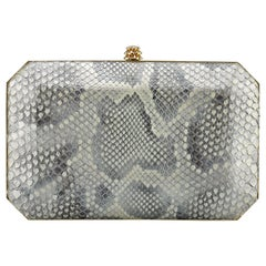 TYLER ELLIS Lily Clutch Golden Dust Glossy Python Gold Hardware