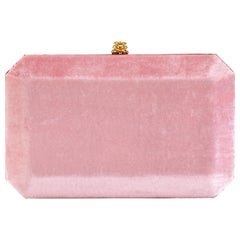 TYLER ELLIS Lily Clutch Pink Crushed Velvet Gold Hardware