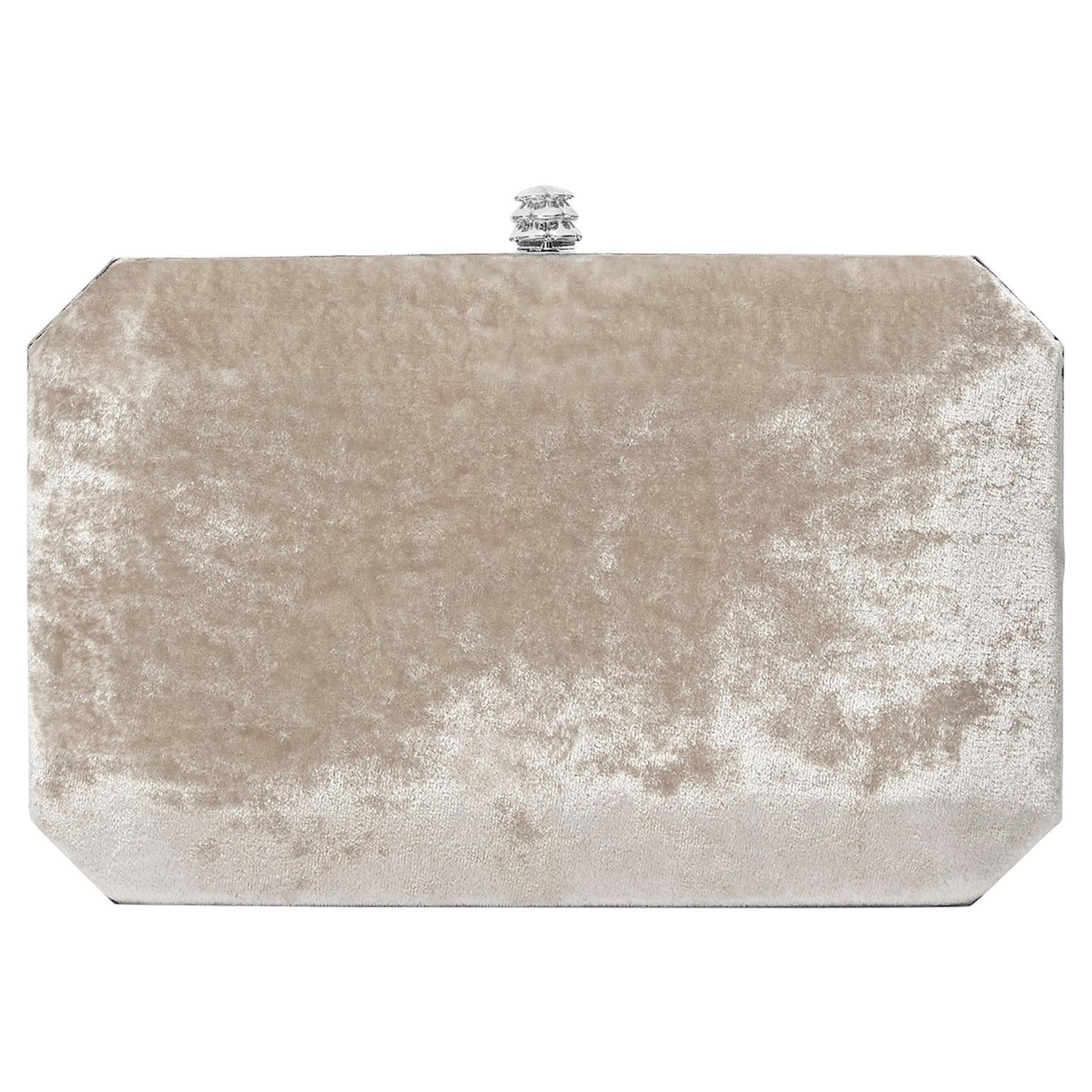 TYLER ELLIS Lily Clutch Silver-Gold Crushed Velvet Silver Hardware