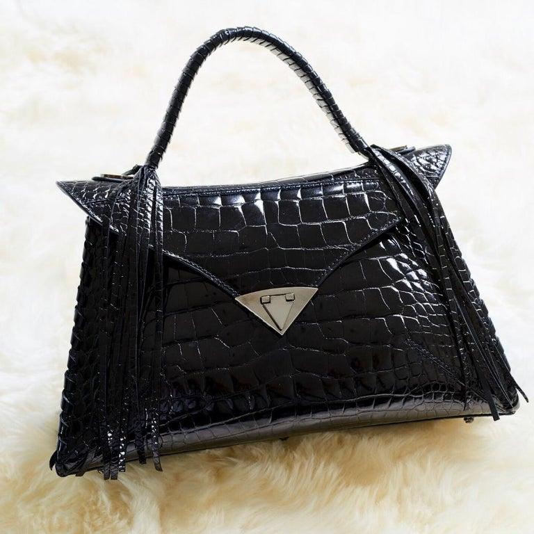 TYLER ELLIS LJ Handbag Black Bombe Alligator Gunmetal Hardware For Sale 1