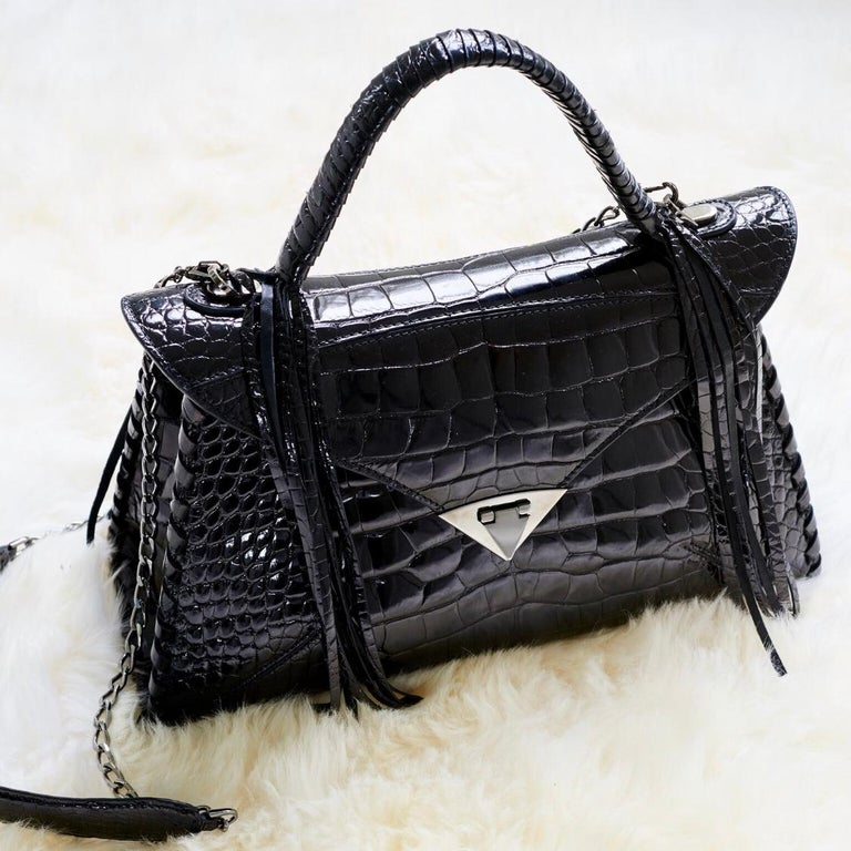 TYLER ELLIS LJ Handbag Black Bombe Alligator Gunmetal Hardware For Sale 2