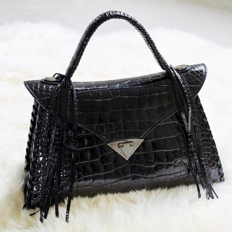 TYLER ELLIS LJ Handbag Black Bombe Alligator Gunmetal Hardware For Sale 3