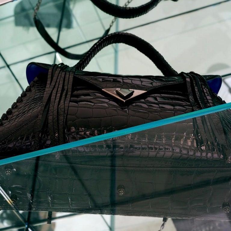 TYLER ELLIS LJ Handbag Black Bombe Alligator Gunmetal Hardware For Sale 4