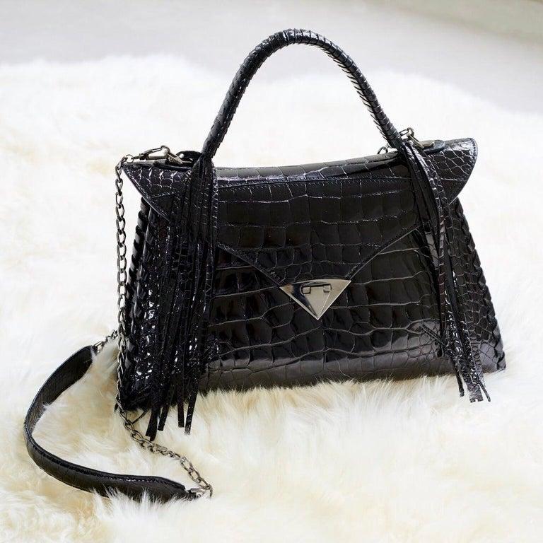 Women's TYLER ELLIS LJ Handbag Black Bombe Alligator Gunmetal Hardware For Sale