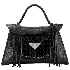 TYLER ELLIS LJ Handbag Black Bombe Alligator Gunmetal Hardware