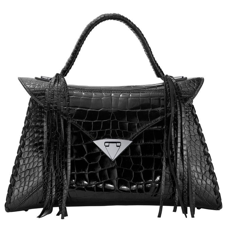 TYLER ELLIS LJ Handbag Black Bombe Alligator Gunmetal Hardware For Sale