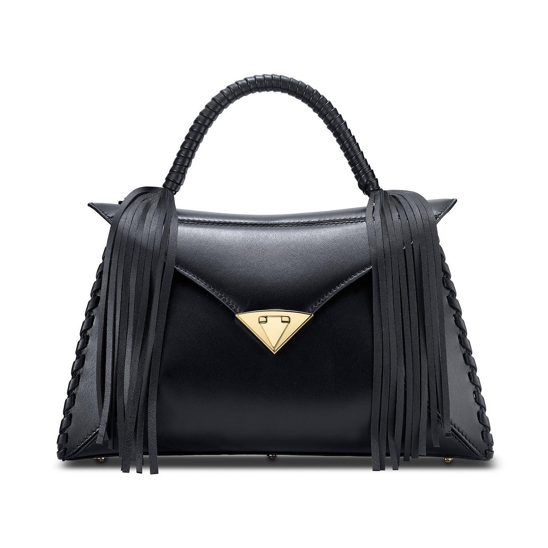 TYLER ELLIS LJ Handbag Black Leather Gold Hardware
