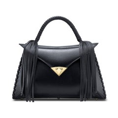 TYLER ELLIS LJ Handbag Black Leather Gold Hardware
