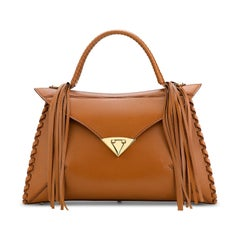 TYLER ELLIS LJ Handbag Cognac Leather Gold Hardware