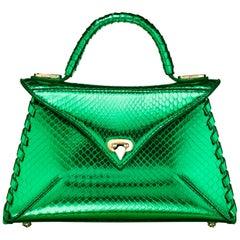 TYLER ELLIS LJ Handbag Small Bright Green Python Gold Hardware