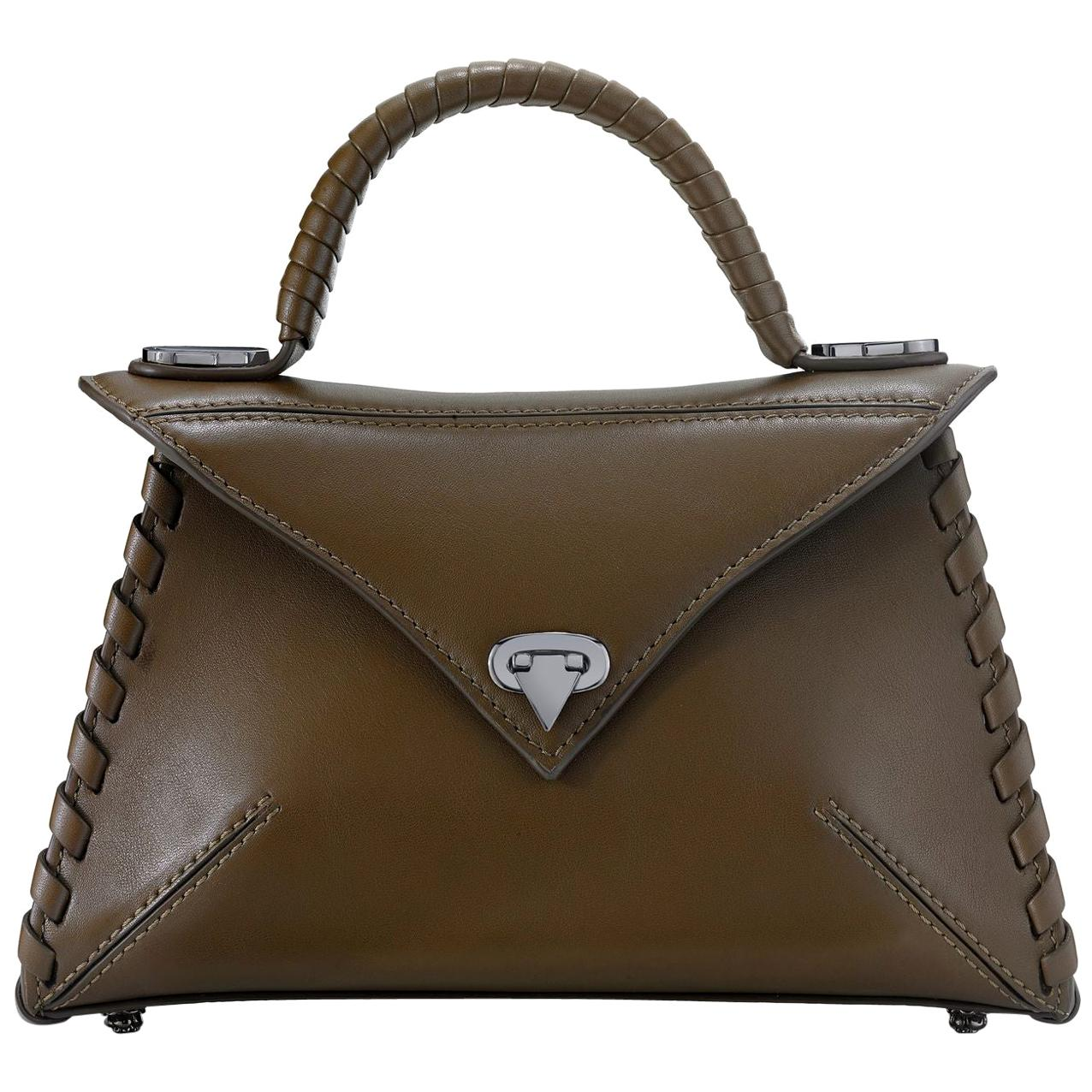 TYLER ELLIS LJ Handbag Small in Olive Green Leather Gunmetal Hardware