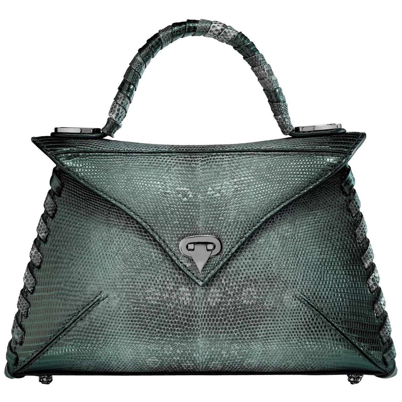 TYLER ELLIS LJ Handbag Small in Peacock Blue-Green Lizard with Gunmetal Hardware