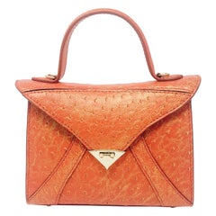 TYLER ELLIS LJ Small Tote Gilded Orange Ostrich Gold Hardware