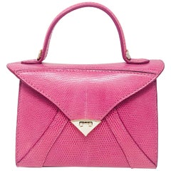 TYLER ELLIS LJ Small Tote Bright Pink Lizard Gold Hardware
